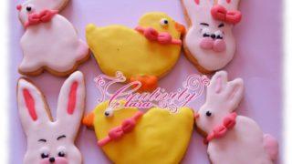 Coniglietti e pulcini biscotti di Pasqua decorati
