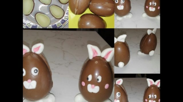 Coniglietti fatti con ovetti di cioccolato decorati con pasta di zucchero